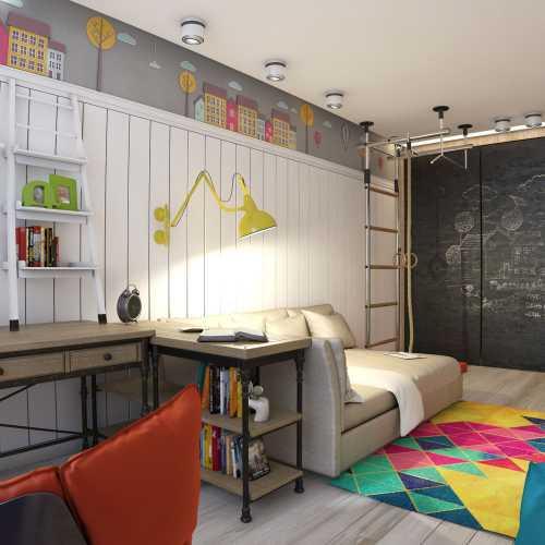 Часть стены, которую будет занимать детская мебель, можно оклеить обычными или фотообоями со сказочными или мультипликационными персонажами