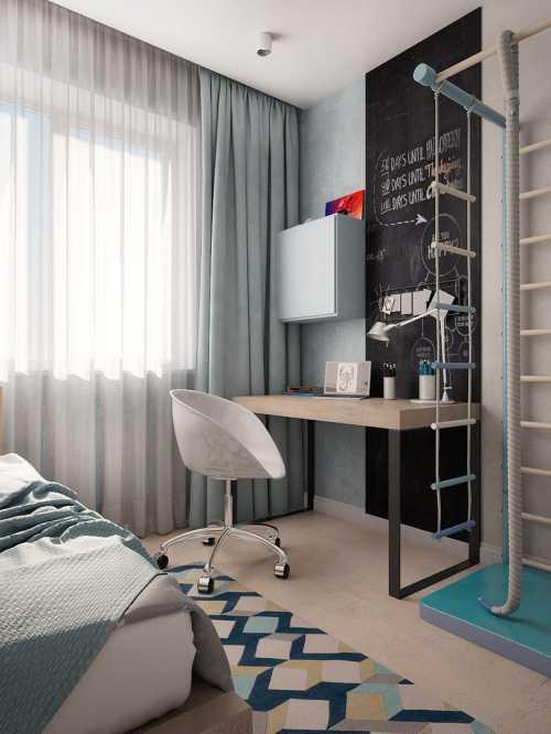 Для такой спальни для мальчика можно использовать веревочную лесенку и простую деревянную мебель